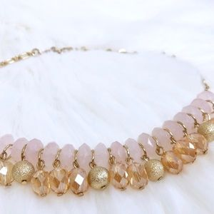 Talbots Blush Pink Statement Necklace Gold Tone